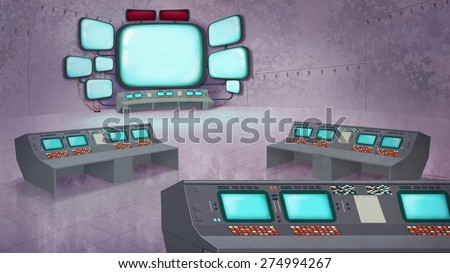 Mission Control Center Interior. Data Center with Control Panels, Computers, Displays. Digital background raster illustration. - stock photo
