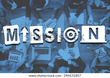 Mission Objective Plan Strategy Target Goals Aspirations Concept - stock photo