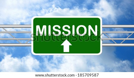Mission Road Sign - stock photo