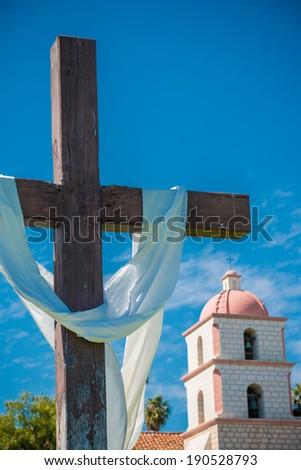 Mission Santa Barbara in Santa Barbara, California with a cross and a sky blue background - stock photo