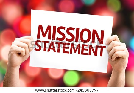 Mission Statement card with colorful background with defocused lights - stock photo