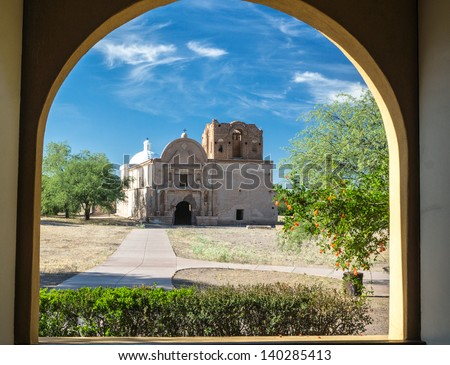 Mission Tumacacori, south of Tucson, is an historic Spanish colonial mission that has been preserved, but not restored, providing a unique perspective on the colonial era. - stock photo