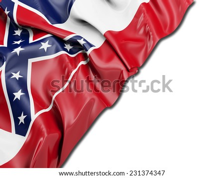 Mississippi Flag on white - stock photo