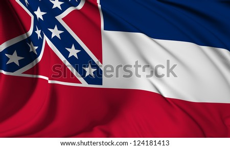 Mississippi flag - USA state flags collection no_3 - stock photo