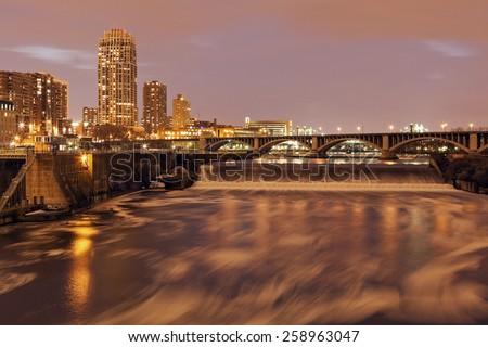 Mississippi in Minneapolis. Minneapolis, Minnesota, USA. - stock photo