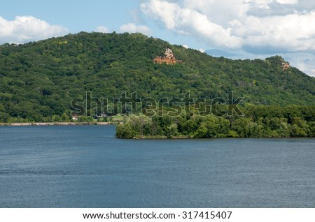 Mississippi River and river bluff in southeast Minnesota at Lake Pepin - stock photo