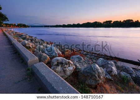 Mississippi River and the Cass Street Bridge Sunset From the River Front Park, La Crosse Wisconsin - stock photo