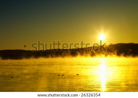 Mississippi river foggy - stock photo