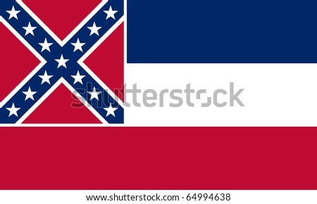 Mississippi state flag of America, isolated on white background. - stock photo