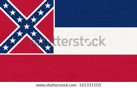 Mississippi state flag of America on brick wall, isolated on white background. - stock photo