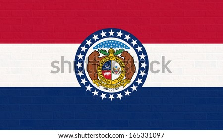 Missouri state flag of America on brick wall, isolated on white background. - stock photo