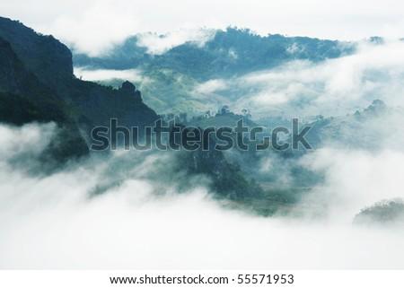 mist and mountain - stock photo