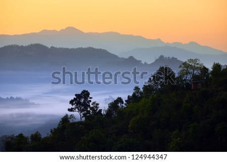 Mist on the natural mountain - stock photo