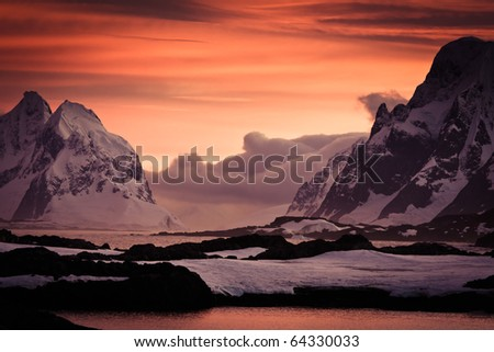 Mist over the mountains. Beautiful winter landscape - stock photo