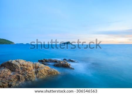 Mist sea,Twilight beach - stock photo