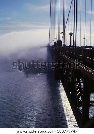 Mist Shrouds Golden Gate Bridge - stock photo
