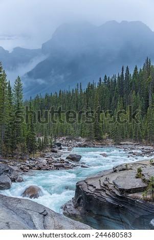 Mistaya Canyon, Banff National Park, Alberta, Canada - stock photo
