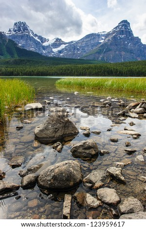 mistaya lake panorama on the icefield parkway in banff national park, alberta, canada - stock photo
