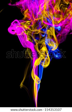Mistery beautiful smoke on the black background - stock photo