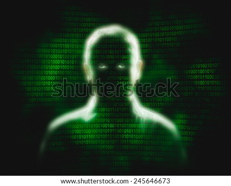 Mistery man behind the cyber attacks - stock photo