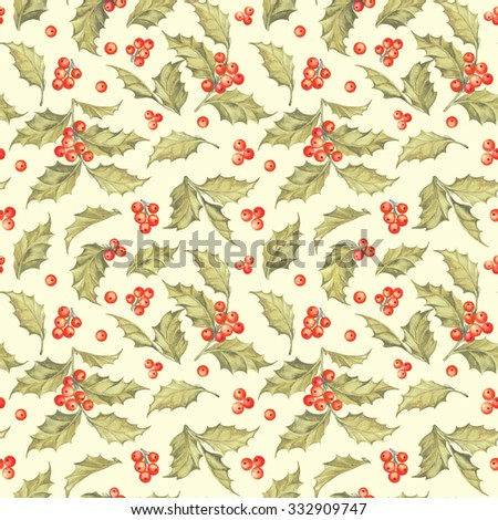 Mistletoe seamless pattern for christmas theme. Seamless christmas background with mistletoe branches. Watercolor painting. Watercolor handmade colorful image with Christmas mistletoe. - stock photo