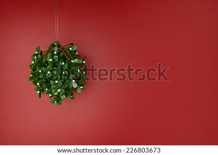 Mistletoe wreath hanging for christmas in front of a red wall (3D Rendering) - stock photo