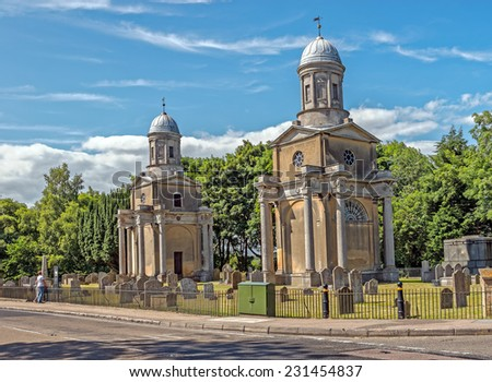 Mistley Towers, the neoclassical remains of an 18th century church designed by Robert Adam in Mistley, Essex, England - stock photo