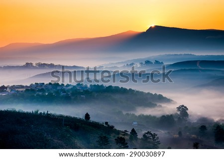Misty beech forest on the mountain slope in a nature reserve. The fog is moving in early morning between hills and peaks of trees and makes with sun rays gentle color reflections. - stock photo