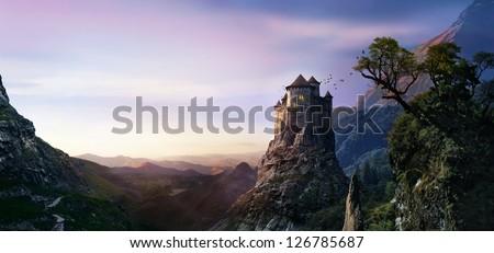 misty castle - stock photo