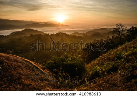 Misty dawn over the Valley and the forest,Umphang wildlife sanctuary,Thailand - stock photo