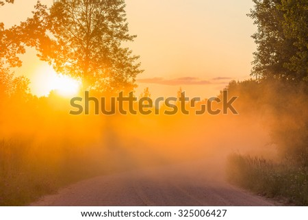 Misty dawn with sunbeams dusty road sunset rays forest - stock photo
