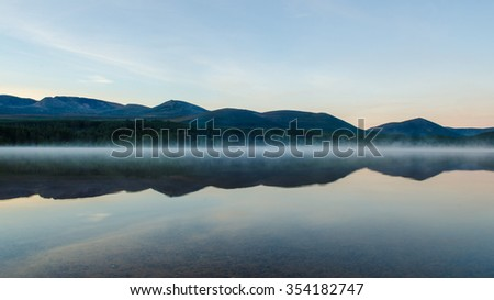 Misty Loch Morlich  - stock photo