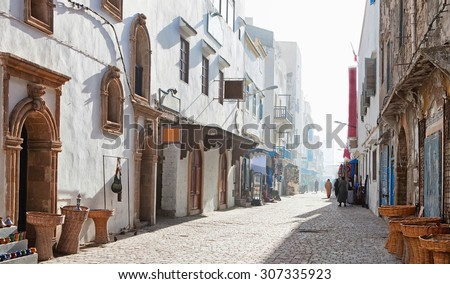 Misty  morning in shopping street,  Medina of Essaouira, Morocco - stock photo