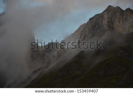 Misty Mountain Peak - stock photo