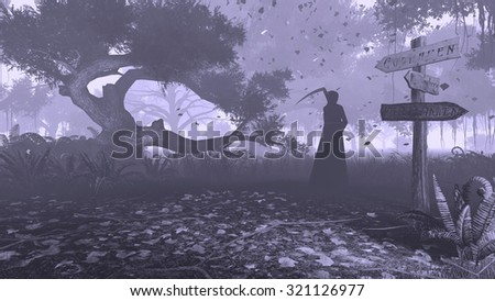 Misty night forest with grim reaper silhouette in the distance. Monochromatic 3D illustration was done from my own 3D rendering file. - stock photo