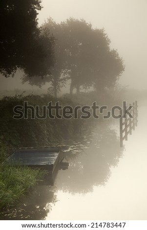 Misty river bank vertical - stock photo
