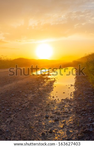 Misty rural road with puddles in the field - stock photo
