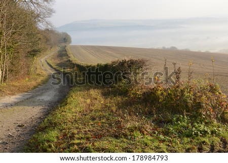 Misty South Downs countryside near Arundel in West Sussex. England. With dirt track. - stock photo