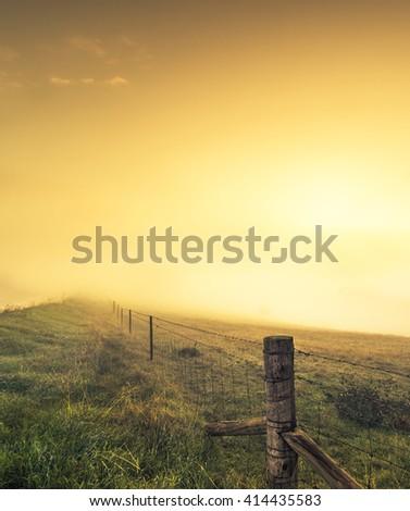 Misty Sunrise - stock photo