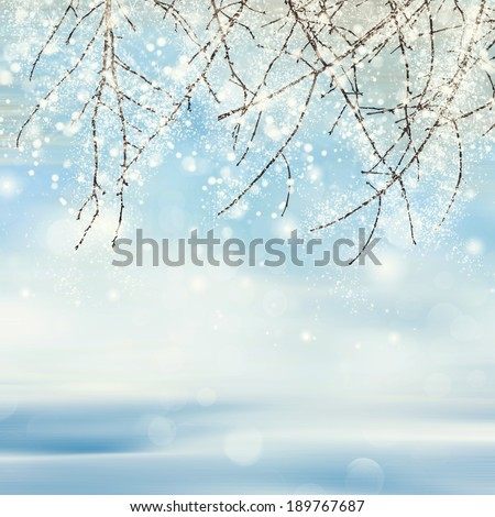 Misty winter picture with tree, snow and hoarfrost  - stock photo