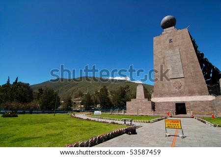 Mitad del mundo - Middle of the World monument near Quito, Ecuador - stock photo