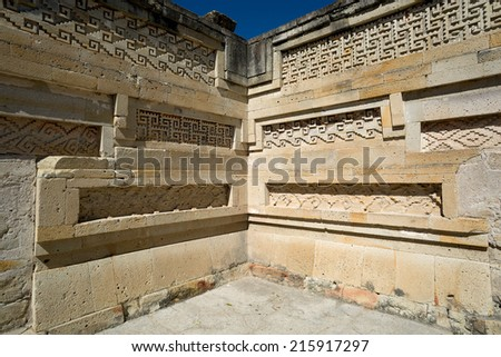 Mitla temple architectural details of the mortar free construction ensemble - stock photo