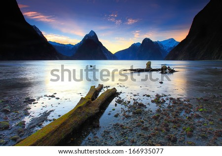 Mitre Peak, Milford Sound, New Zealand - stock photo