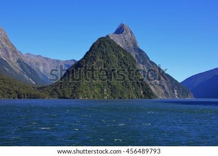 Mitre Peak, mountain in the Milford Sound, New Zealand - stock photo