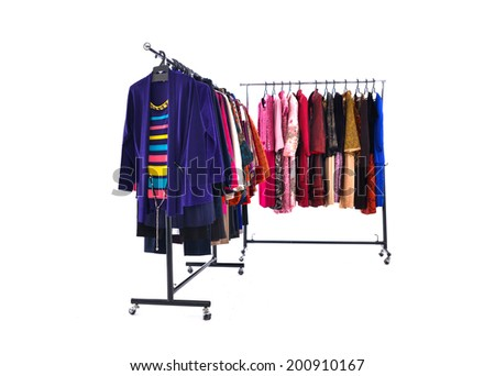 Mix color fashion female clothing on hanging  - stock photo