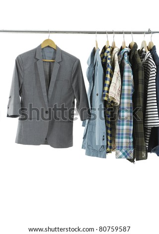 Mix color Shirt on Hangers - stock photo