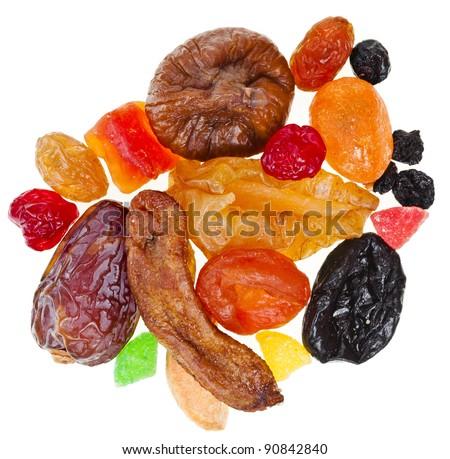 mix dried fruits on white - stock photo