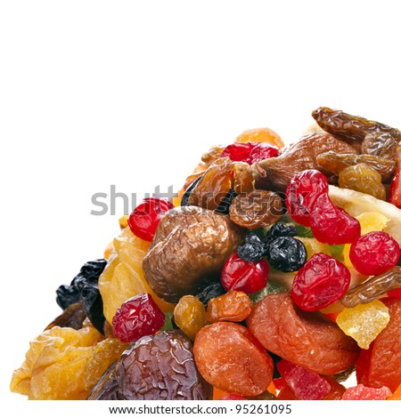 mix dried fruits on white - stock photo