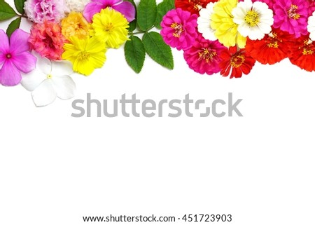 mix flowers frame isolated on a white background with copy space for design, valentine or wedding concept  - stock photo