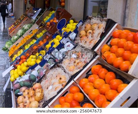 mix  fruits on  market counter - stock photo